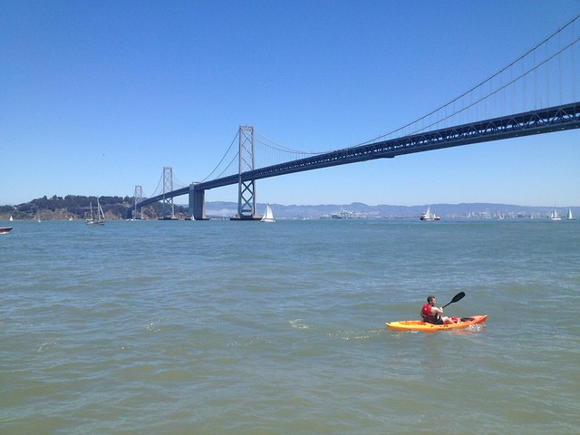 Kayaker near the Bay Bridge