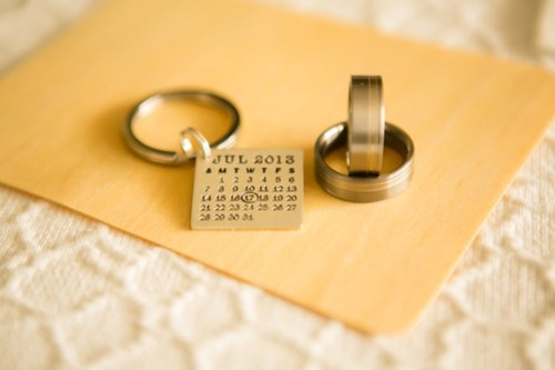 Wedding bands and Calender Key Chain
