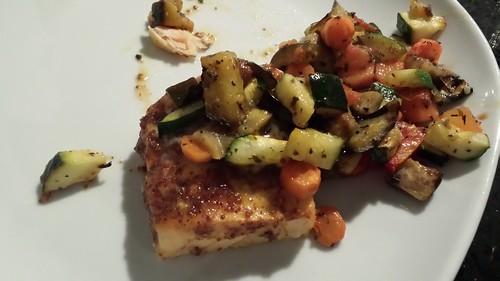 Vis en groentjes in de oven