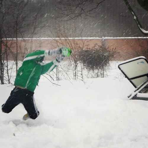 Fair catch! #snowmaggeddon2014 #winter #snow #family