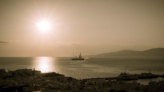Ship setting sail from Mykonos