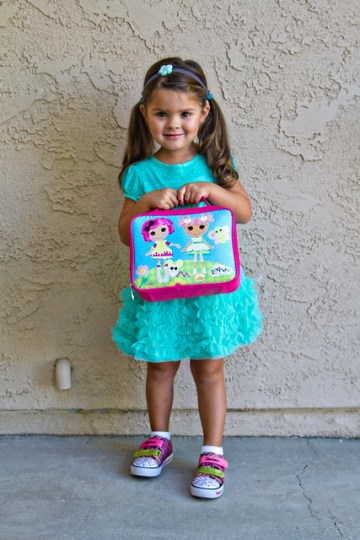 first day of preschool, with her lalaloopsy lunchbag