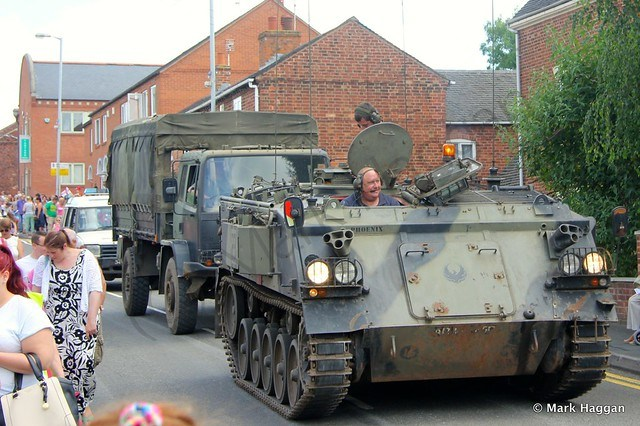 An armoured personnel carrier in the festival parade