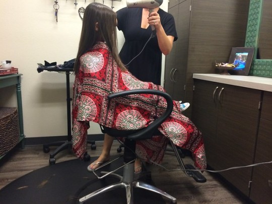 getting a blow dry