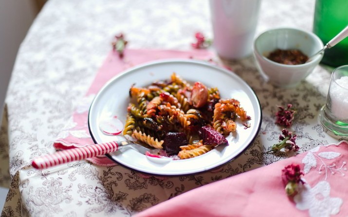 Pasta with Roasted Spring Vegetables