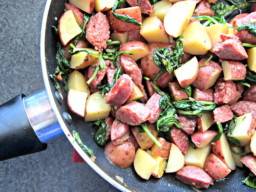 Venison Sausage, Potato & Arugula Skillet