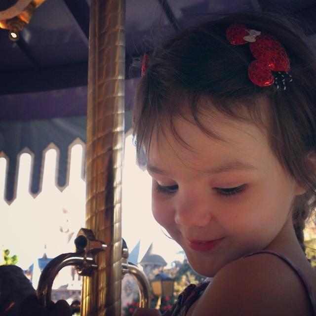 She loves this horse. She named her Lila. #kingarthurscarousel #Disneyland  #magicalchildhood
