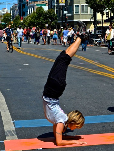 headstand,Yoga Station, San Francisco Sunday streets,