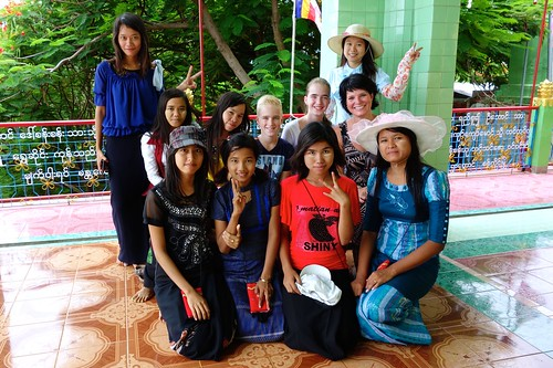 Burmese kids with our kids at Sagaing Hill