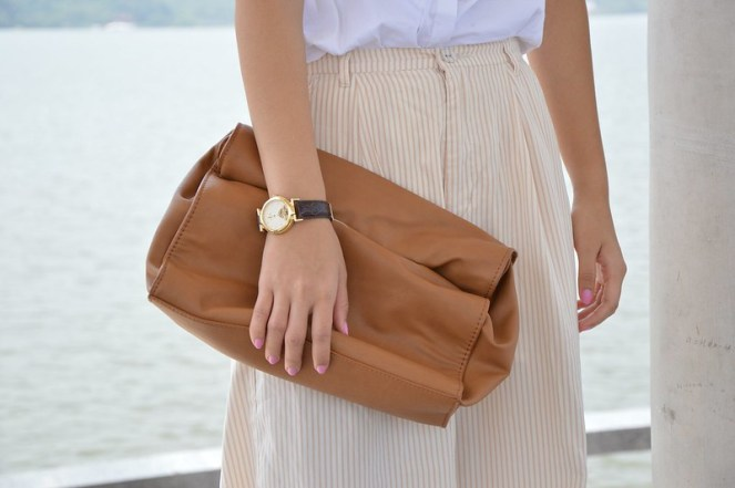 zara brown leather foldover clutch, brown gold vintage tourbillon watch