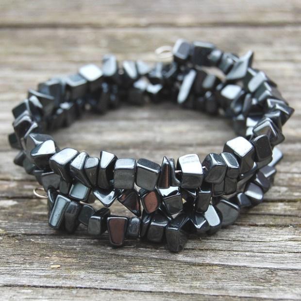 Gemstone spiral bracelets - Hematite
