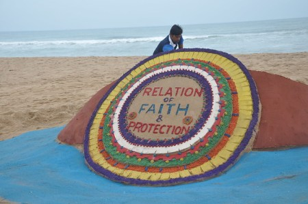 Sand Art On the eve of Raksha Bandhan by sand artist Sri Mamas Kumar Sahoo