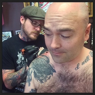 Getting the Junod one last time (In Charleston) #holycitytattooingcollective #tattoo #IWantYourSkull #nipslip #organicsweater