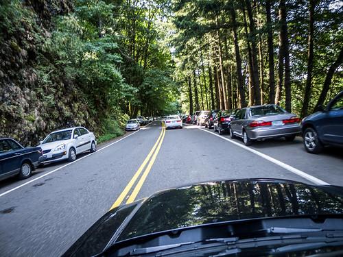 Backed Up Traffic at Multnomah Falls