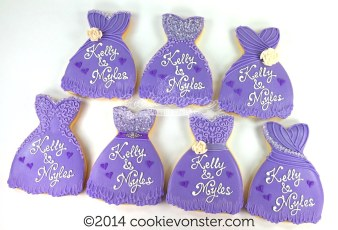 Purple dresses wedding cookie favours