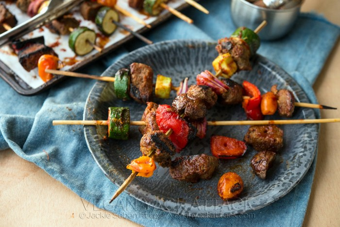 These Grilled BBQ Seitan Skewers with colorful veggies and savory sauce, are perfect for summer cookouts, or just enjoying at home! Vegan