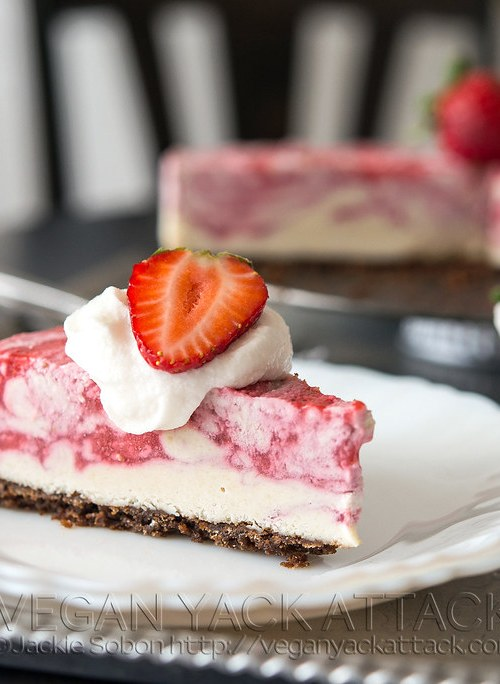 A luscious Strawberry Swirl Cheesecake with graham cracker crust, and swirled dairy-free filling! From the Decadent Gluten-free Vegan Baking Cookbook.