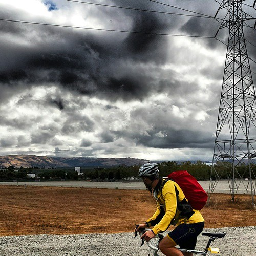 Morning commute, take 2. Guadalupe River Trail San Jose California.   #cycling #rain #bikecommute #commute #trail #sanjose #clouds #sky #towerofpower