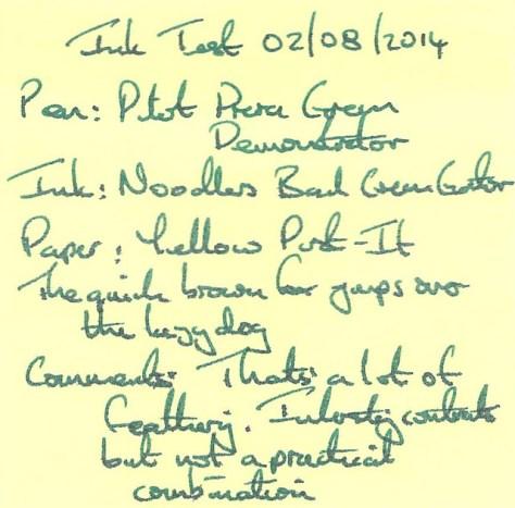 Noodler's Bad Green Gator - Ink Review - Post It