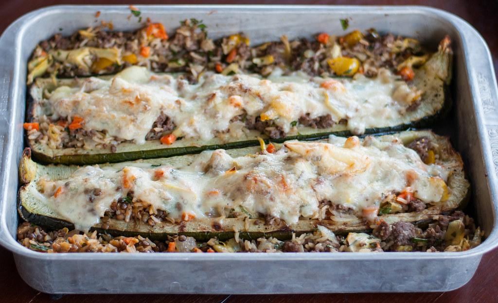 Oven fresh stuffed zucchini