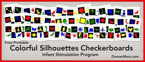 Free Colorful Silhouette Checkerboards (infant stimulation)