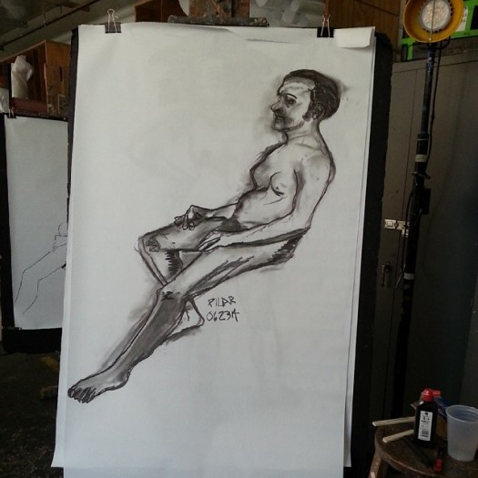 Male Nude II Vine charcoal on paper 36x48 inches (approximate) June 23, 2014  I had a harder time with the long pose (more time = better work, more details). Must learn not to put pressure on myself.   #drawing #onthespot #40minutepose #live #male #nude #