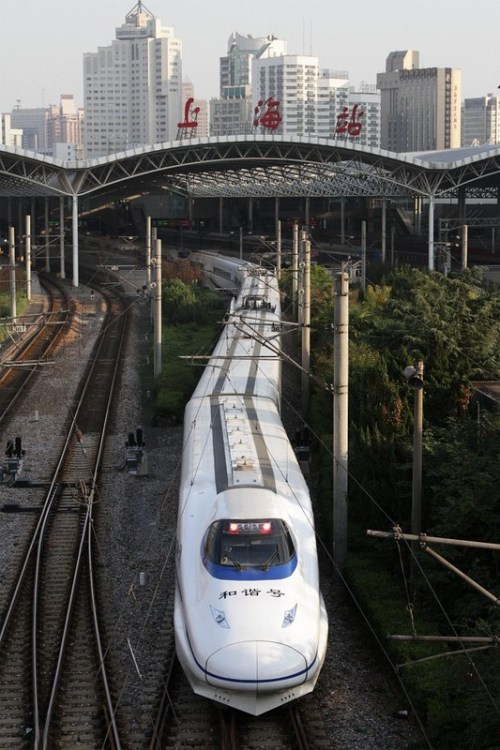 China Railways CRH2 set arrives at Shanghai Railway Station