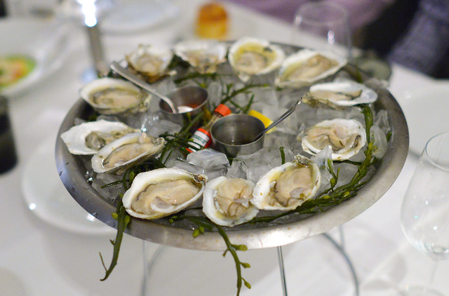 OYSTERS ON THE HALF SHELL CHAMPAGNE MIGNONETTE