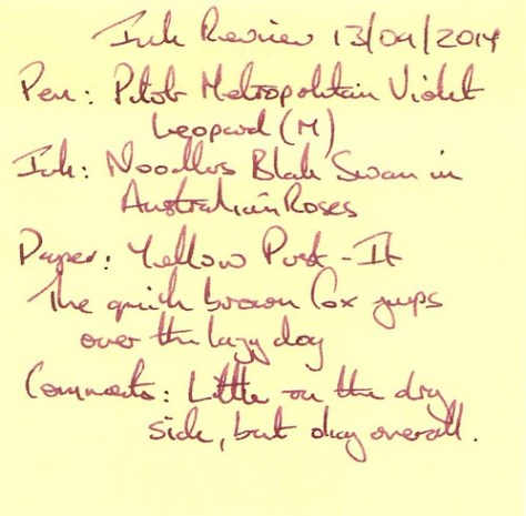 Noodler's Black Swan in Australian Roses - Ink Review - Post It