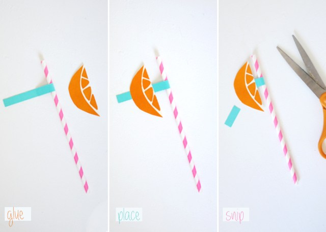 glue place snip party straws