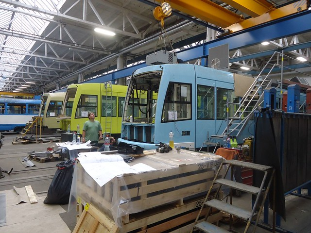 First Hill Streetcar Trams under Construction