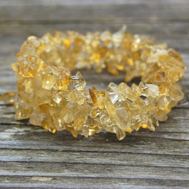 Gemstone spiral bracelets - Citrin