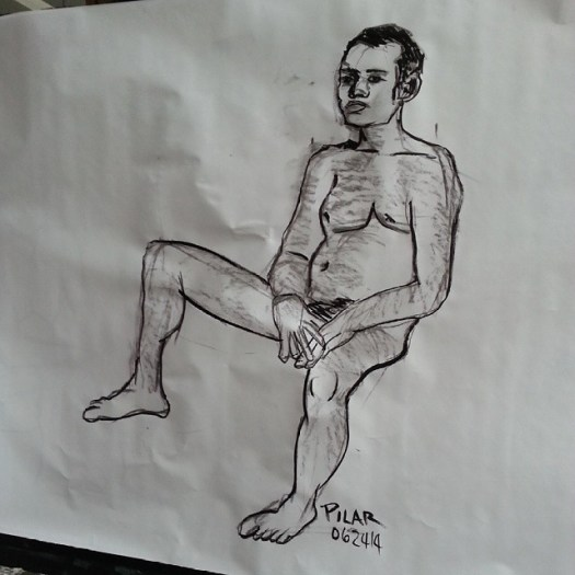 Seated Male Nude  Charcoal on paper 36x48 inches ( approximate ) June 26, 2014  #drawing #onthespot #20minutepose #live #male #nude #nyc #artstudentsleagueofnewyork
