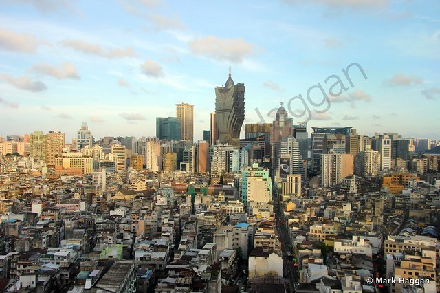 The view over the Historic Centre of Macau towards the casinos
