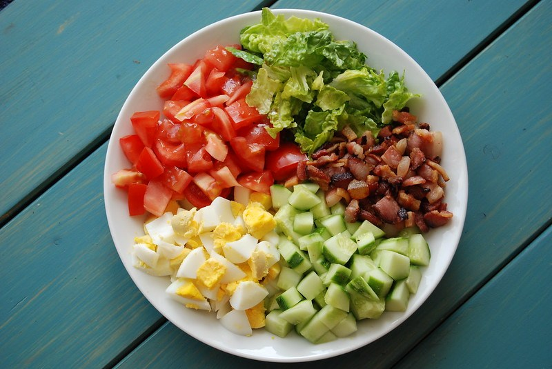 Bacon n Eggs Chopped Salad with Probiotic Avocado Dressing