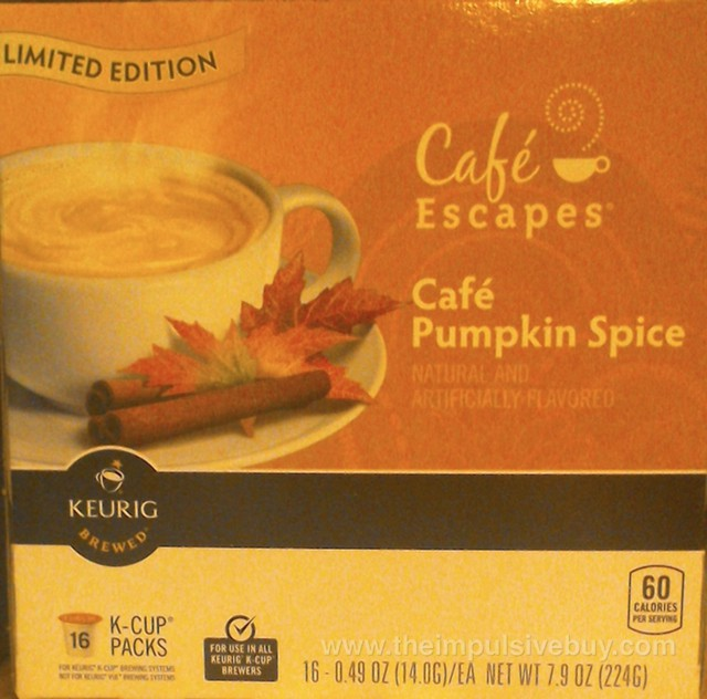 Cafe Escapes Limited Edition Cafe Pumpkin Spice Keurig K-Cup
