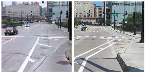 Harrison bike lanes before and after