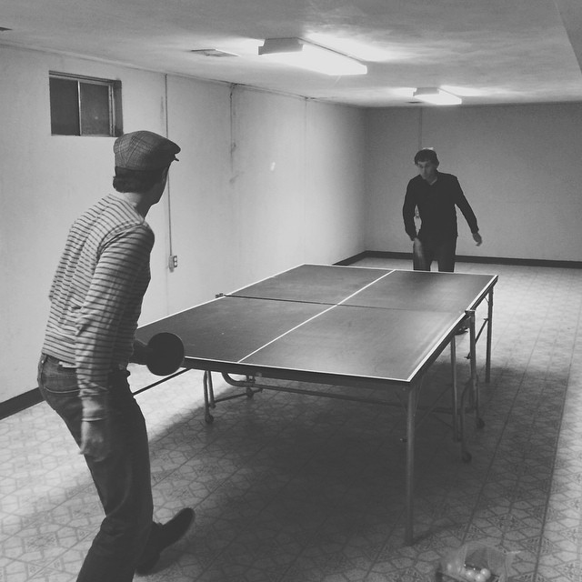 Stopped by the house I grew up in one last time before it gets sold. Of course this called some netless table tennis with two friends I've had for over twenty years. I've spent many hours in this basement with these two friends. Goodbye, house. I'll proba