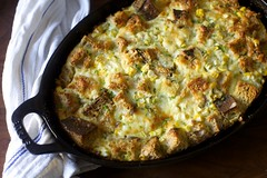 Corn, Cheddar and Scallion Strata