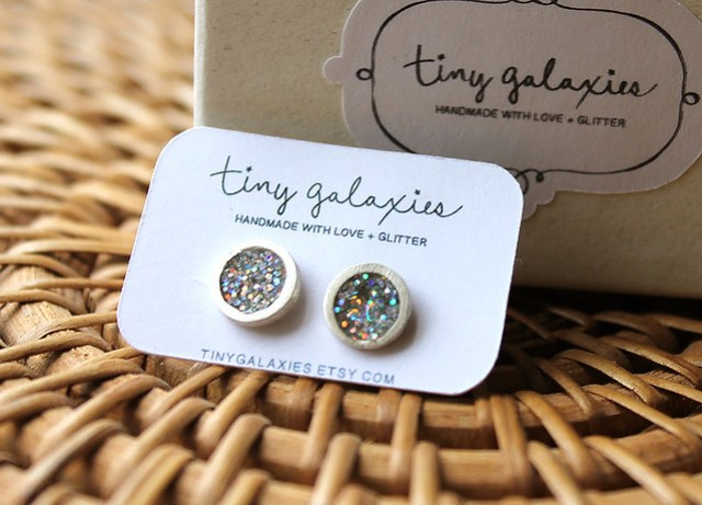 fine silver earrings by tiny galaxies
