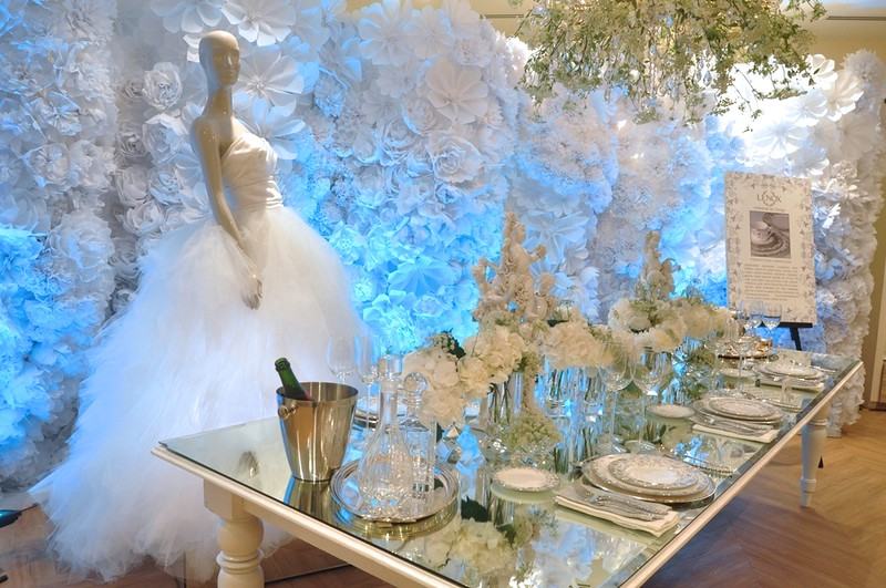 The Wedding Table Set-up featuring a wedding dress by Marchesa, and the Marchesa by Lenox dinnerware