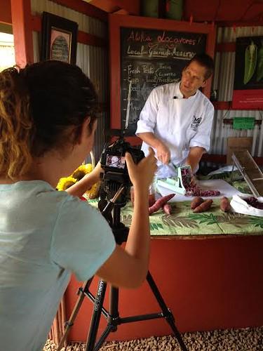 HFFF 3- Tierra filming Chef Marc McDowell making sweet potato farms at the Kumu Farms farm stand at Maui Tropical Plantation