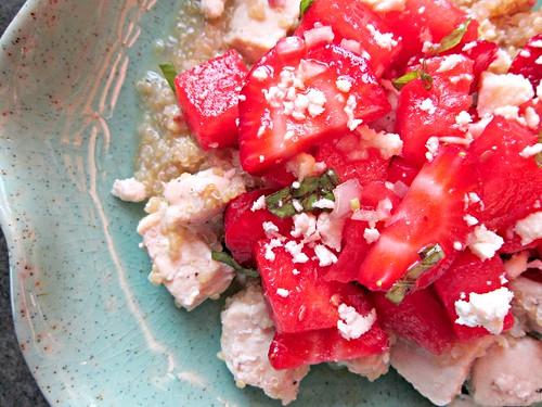 Chicken, Watermelon, Strawberry Salad
