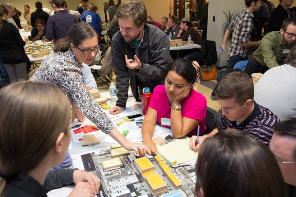 Residents use blocks to visualize desirable development near the Logan Square Blue Line station.