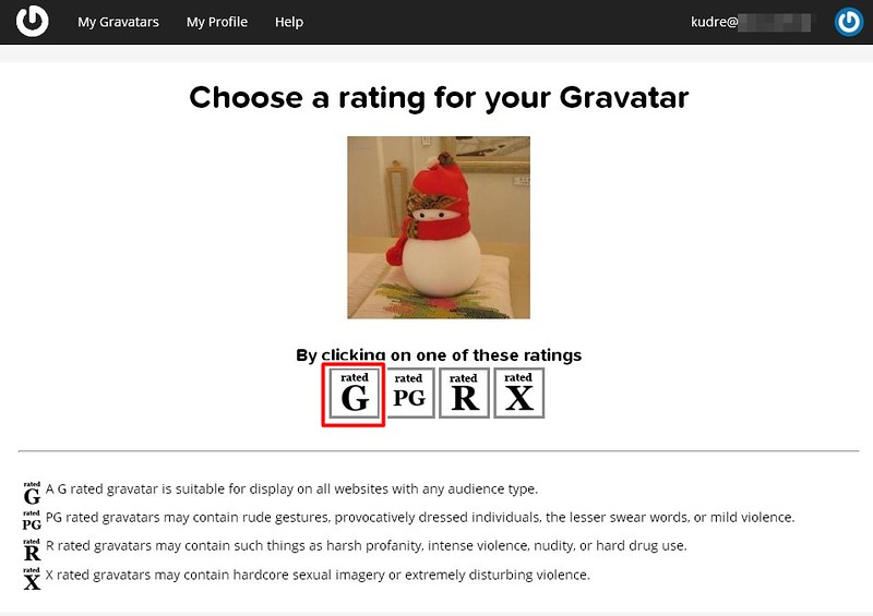 09 choose a rating for your Gravatar