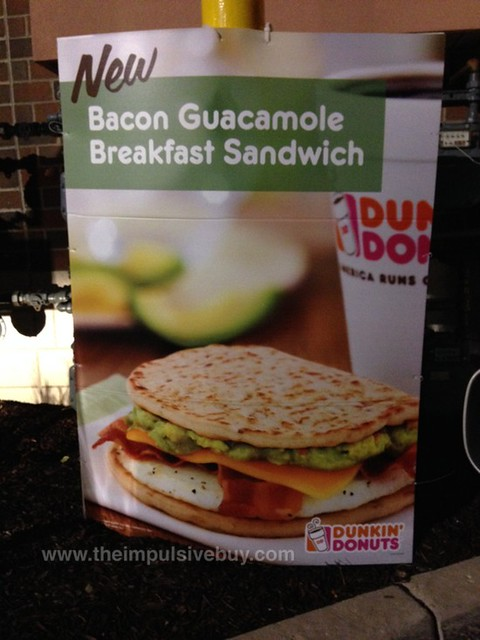 Dunkin Donuts Bacon Guacamole Breakfast Sandwich