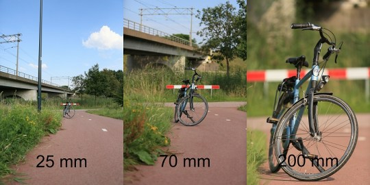 De scherptediepte ziet er bij verschillende brandpunten heel anders uit. De afstand tot het onderwerp is gelijk gebleven, het diafragma eveneens (f/2,8)