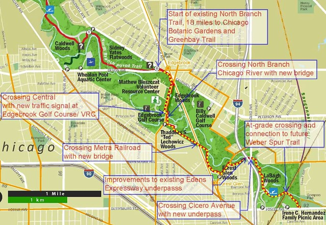 North Branch Trail southern extension map