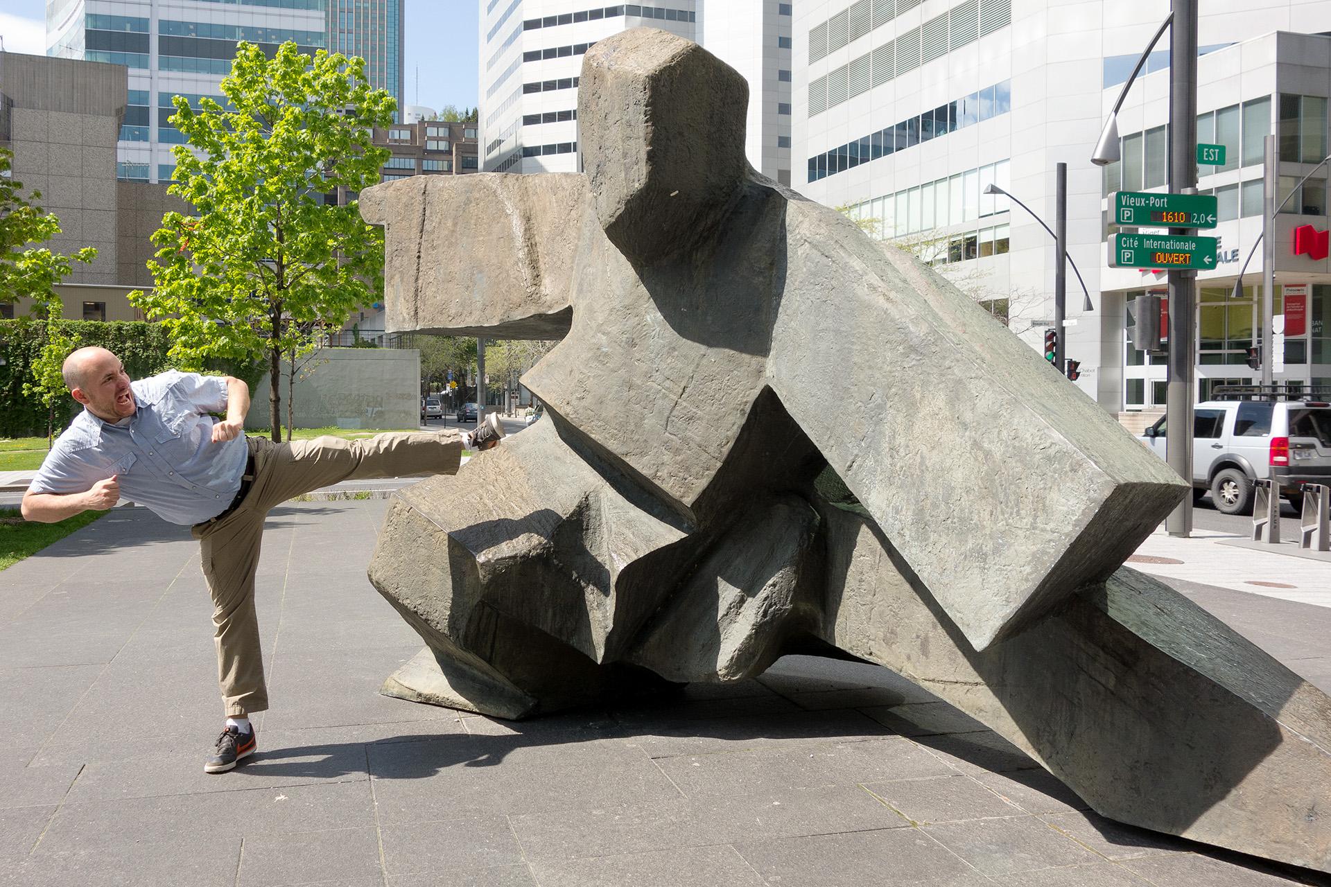 """""""Taichi Single Whip"""" sculpture in Victoria Square."""