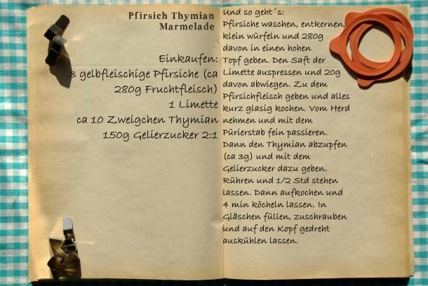 Einkaufszettel Pfirsich Thymian Marmelade